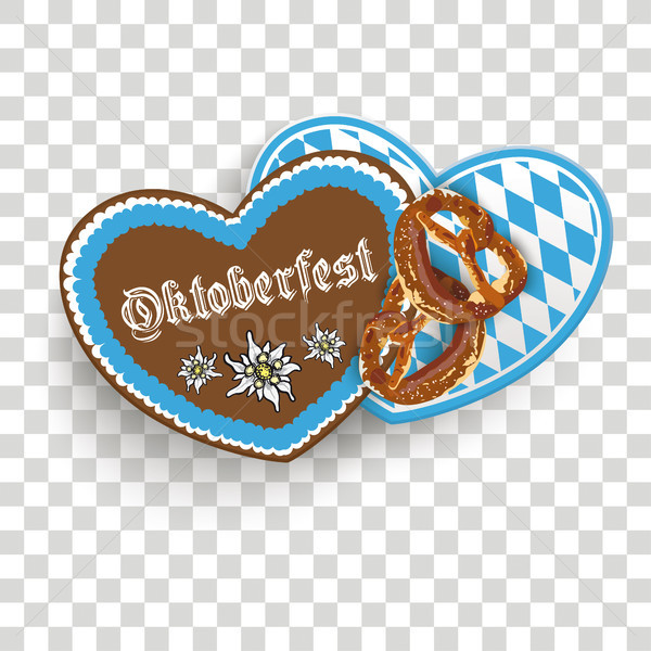 Oktoberfest 2 Hearts Pretzel Transparent Stock photo © limbi007