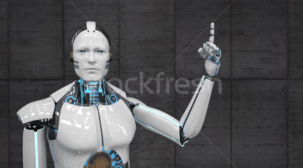 Fehér robot célzás vigyázat 3d illusztráció technológia Stock fotó © limbi007