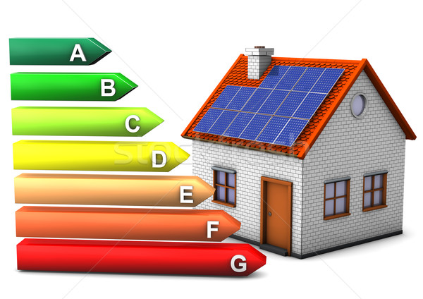 Energie verbruik huis symbool witte Stockfoto © limbi007