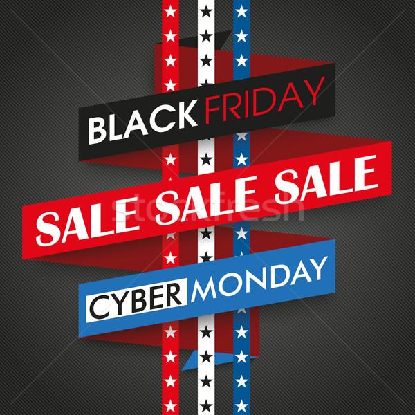 Black Friday Cyber Monday Ribbon Stars Stripes Stock photo © limbi007