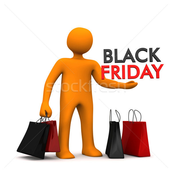 Manikin Shopping Bags Black Friday Stock photo © limbi007