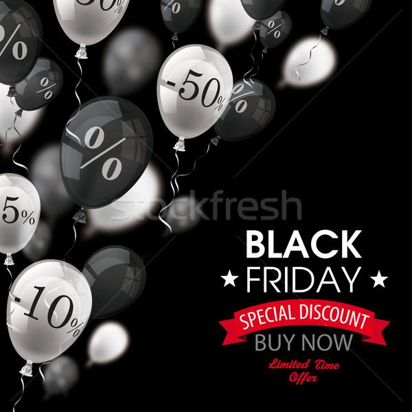 Black Friday Black White Balloons Percents Cover Stock photo © limbi007