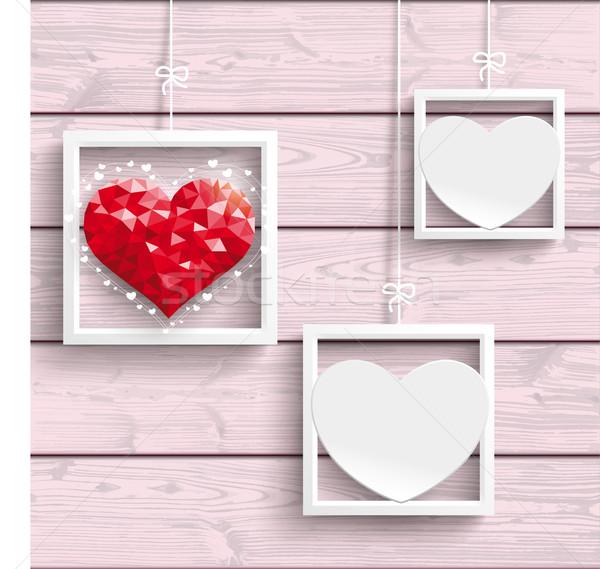 Frames 2 White Hearts 1 LowPoly Heart Stock photo © limbi007