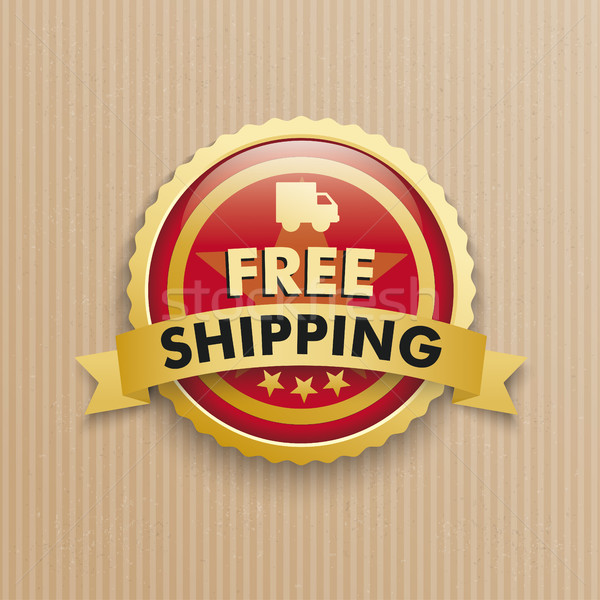 Karton gratis verzending Rood knop tekst eps Stockfoto © limbi007