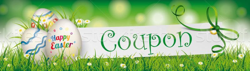 Iyi paskalyalar yumurta kâğıt afiş yeşil Stok fotoğraf © limbi007