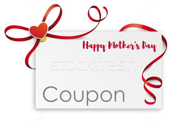 Coupon Card Red Ribbon Bow Mothersday Stock photo © limbi007