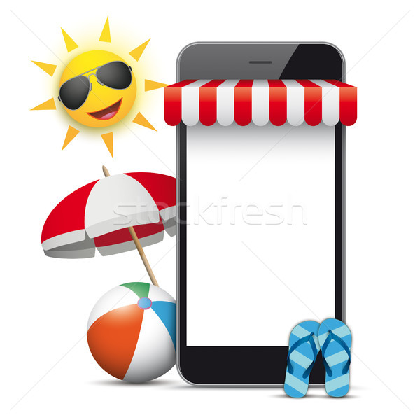 Smartphone Shop Marquee Sun Sunshade Flip-Flops Stock photo © limbi007
