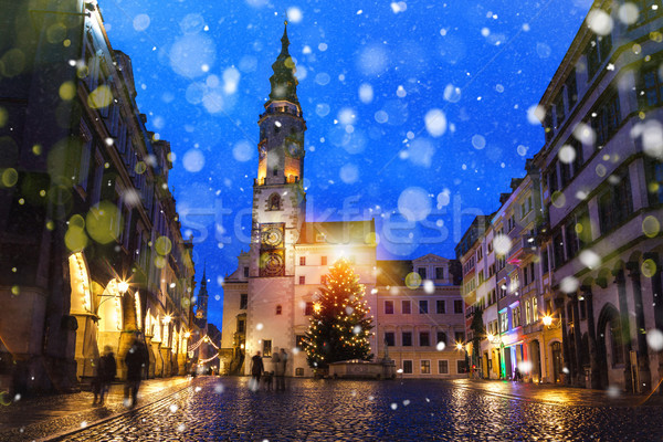 Goerlitz Saxony Townhall Christmas Tree Stock photo © limbi007