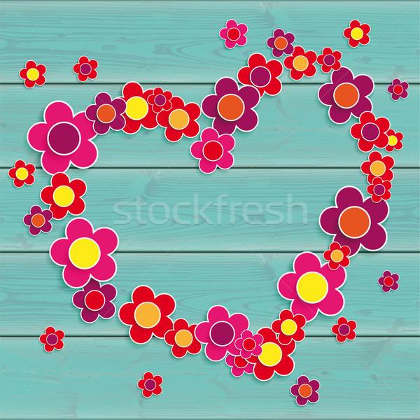 Turquesa mesa de madeira rosa flores coração Foto stock © limbi007