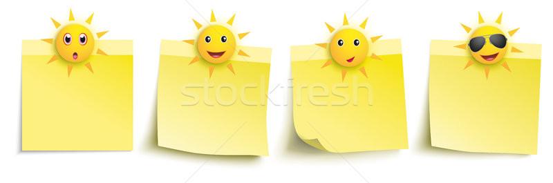 Stockfoto: Geel · grappig · zon · smileys · stickers