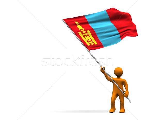 Mongólia laranja desenho animado grande bandeira isolado Foto stock © limbi007