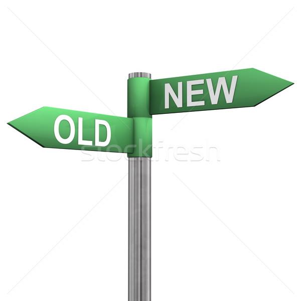 Photo stock: Nouvelle · vieux · itinéraire · panneau · deux · texte