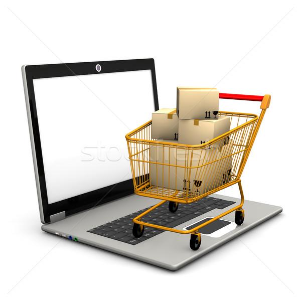 Laptop bevásárlókocsi szállítás világ hálózat mobil Stock fotó © limbi007