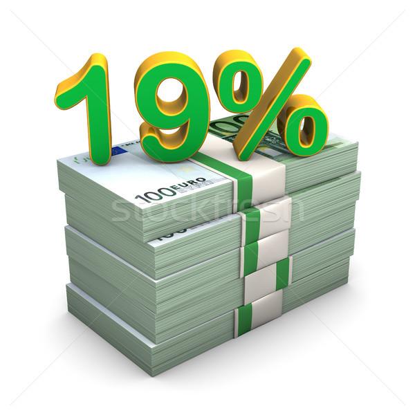 19 százalék Euro jegyzetek szöveg bank Stock fotó © limbi007