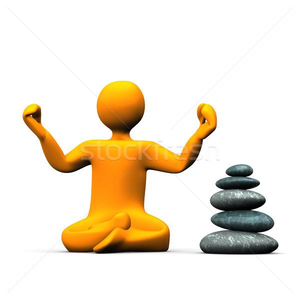 Yoga pierres orange blanche pyramide Photo stock © limbi007