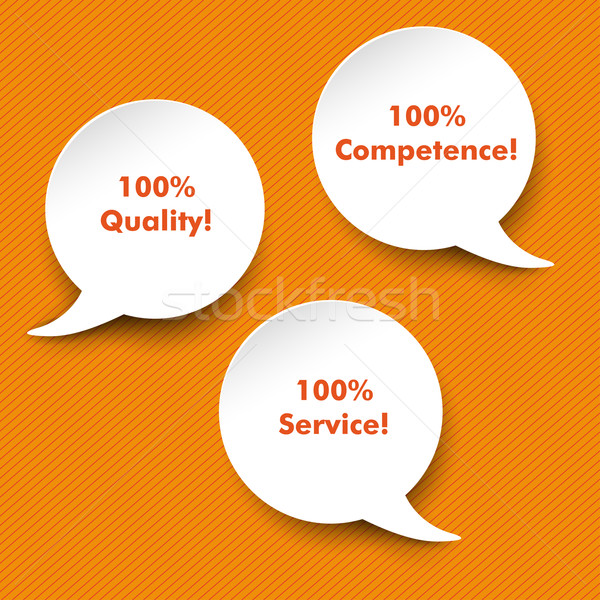 Speech Bubbles Quality, Service, Competence Stock photo © limbi007