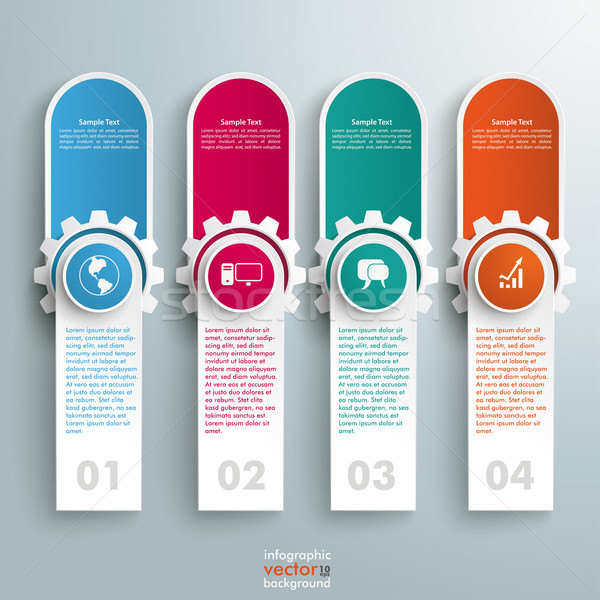 Oblong Round Banners Colored Gears Stock photo © limbi007