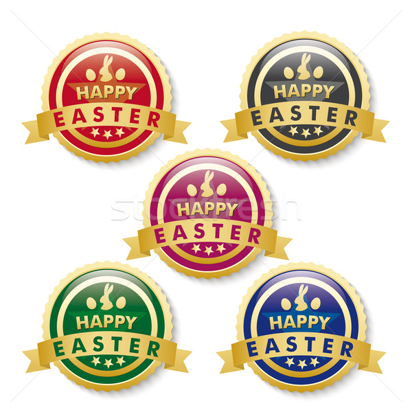 Happy Easter 5 Golden Buttons Stock photo © limbi007