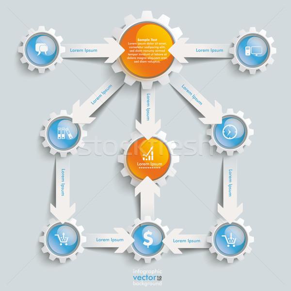 Paper Arrows Gears Blue Orange Flowchart Success Stock photo © limbi007
