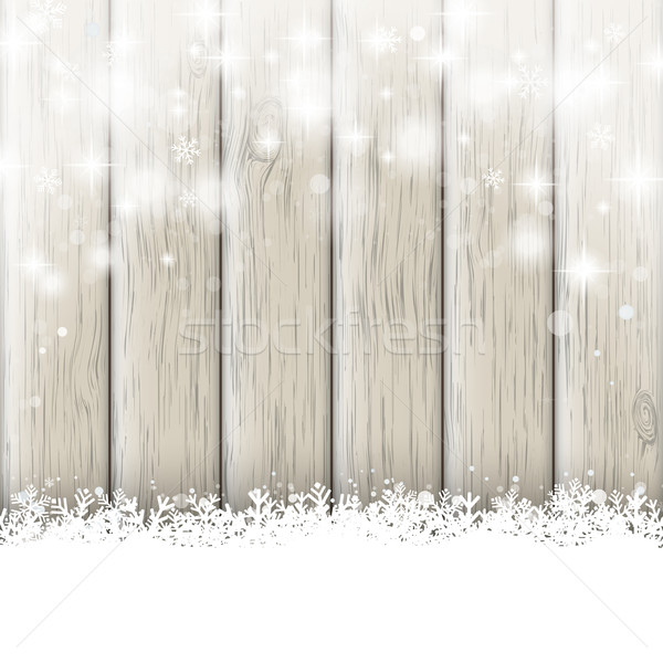 Snowfall Glitter Stars Ash Wooden Background Stock photo © limbi007