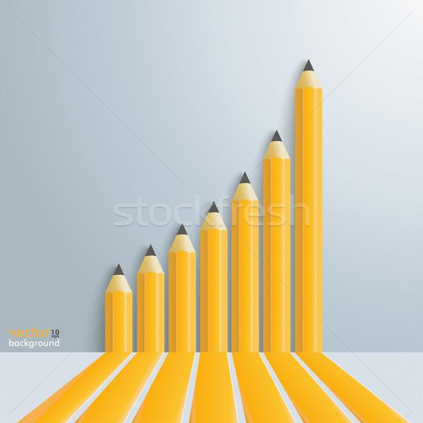 Ceruzák növekvő diagram infografika sablon szürke Stock fotó © limbi007