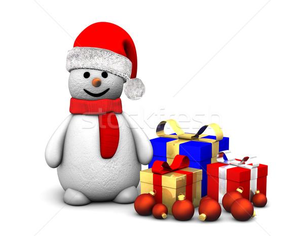 Boneco de neve boné isolado branco homem Foto stock © limbi007