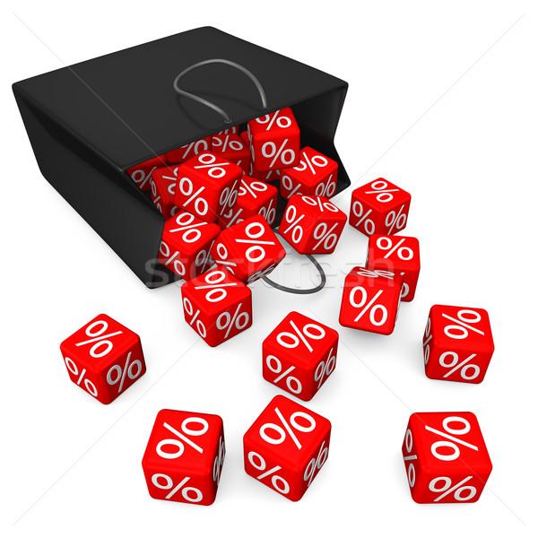 Black Shopping Bag Red Percent Cubes Stock photo © limbi007