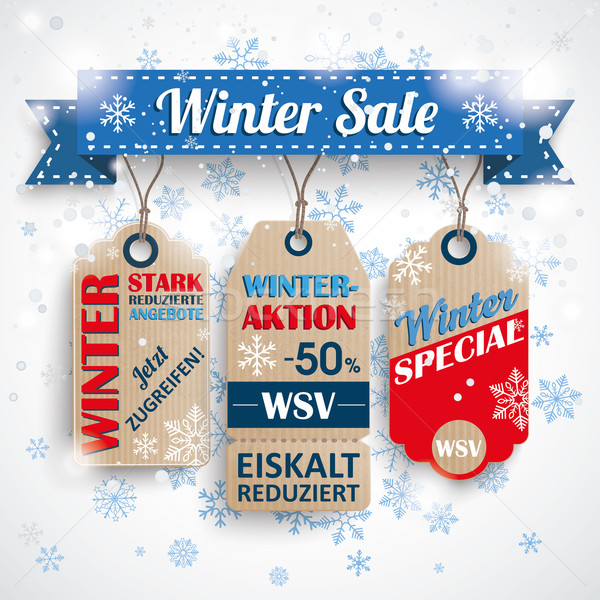 WSV Ribbon Price Stickers Snowflakes Stock photo © limbi007