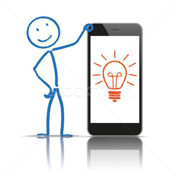 Stockfoto: Idee · lamp · smartphone · witte · eps · 10