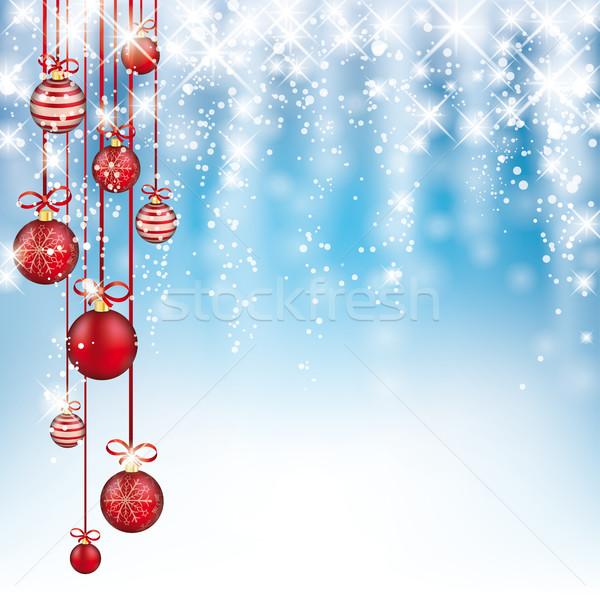 Blue Frozen Sky Red Christmas Baubles Falling Snow Stock photo © limbi007