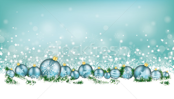 Cyan Christmas Card Header Snowflakes Cyan Baubles Stock photo © limbi007