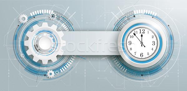 Futuristic Gear Construction Clock Circuit Board Banner Stock photo © limbi007