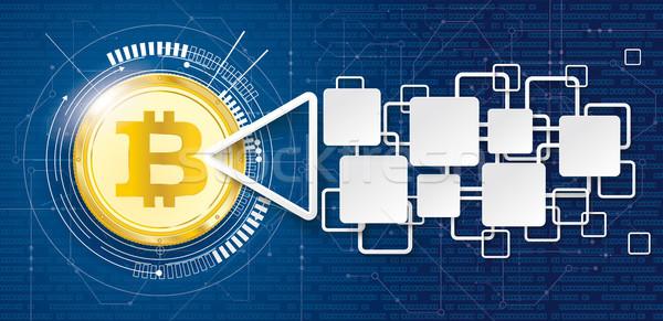 Golden Bitcoin Data Block Chain Arrow Stock photo © limbi007