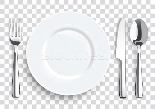 Realistic Knife Fork Spoon Stainless Steel Flatware Stock photo © limbi007