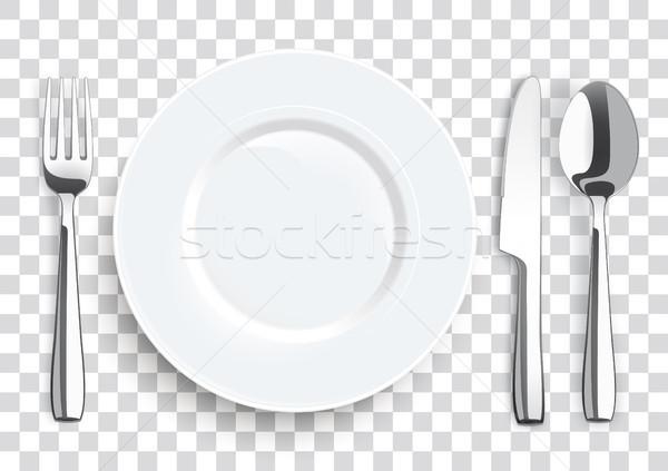 現実的な ナイフ フォーク スプーン ステンレス鋼 プレート ストックフォト © limbi007
