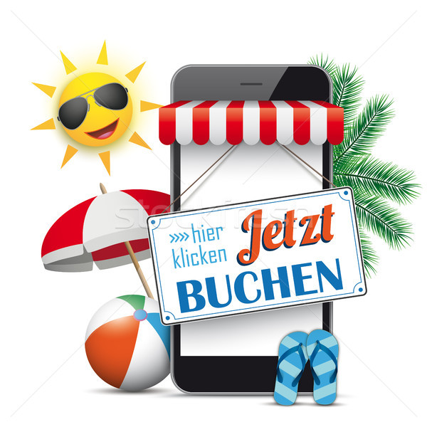 Smartphone Shop Marquee Jetzt Buchen Sun Flip-Flops Stock photo © limbi007