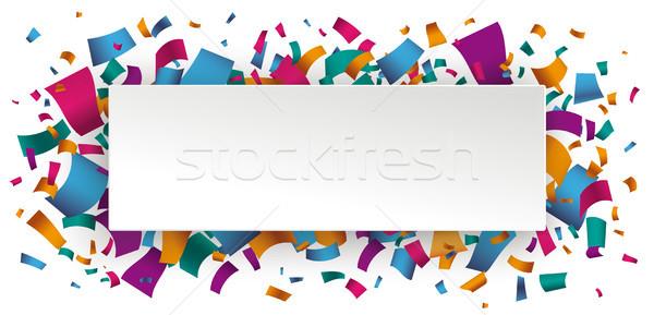 бумаги баннер конфетти белый прибыль на акцию Сток-фото © limbi007