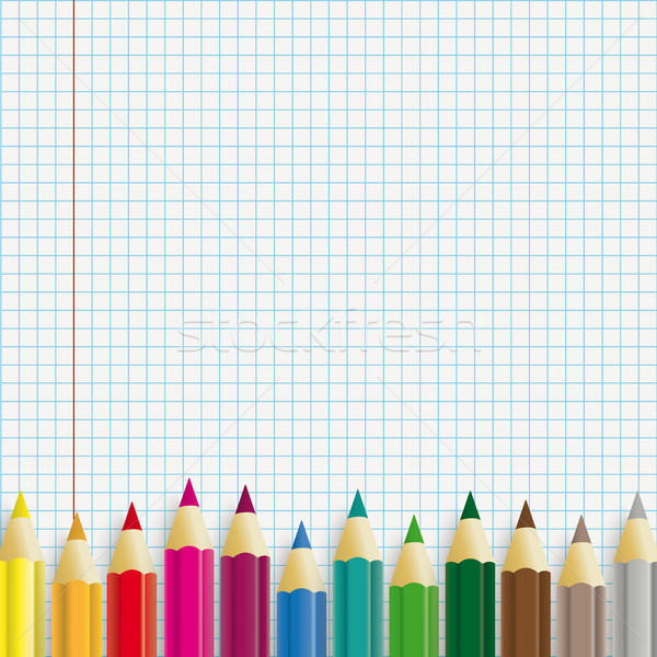 Colored Pencils Checked Paper Stock photo © limbi007