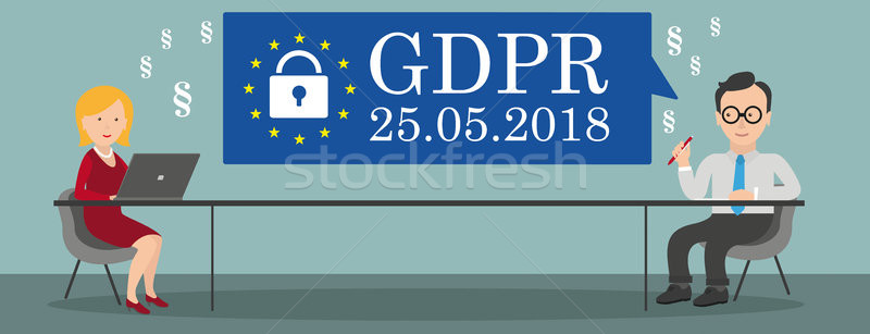 Consulting Woman Notebook Businessman Table GDPR Stock photo © limbi007