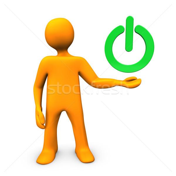 Zöld erő gomb narancs rajzfilmfigura nő Stock fotó © limbi007