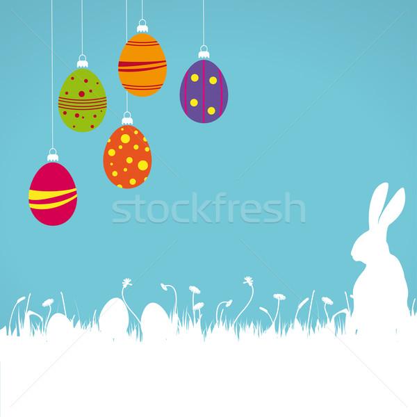 Pasen kaart gekleurde eieren witte konijn Stockfoto © limbi007