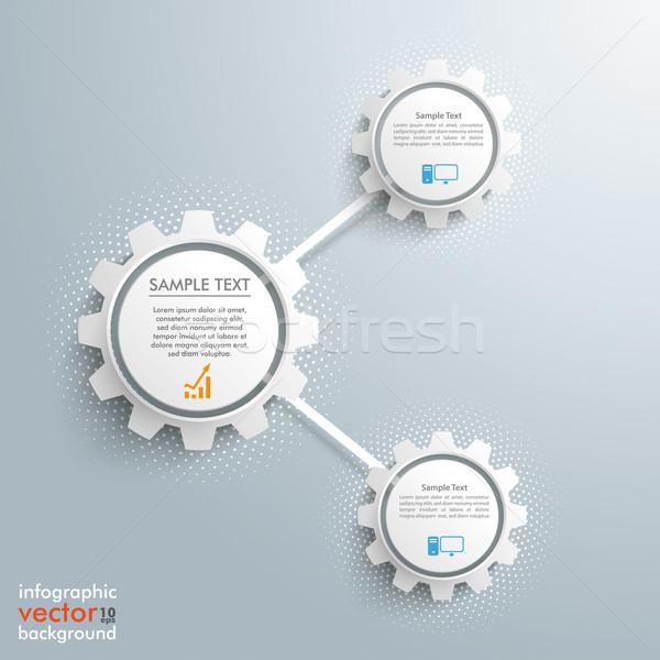 Infographic 3 Network Gears Halftone Stock photo © limbi007