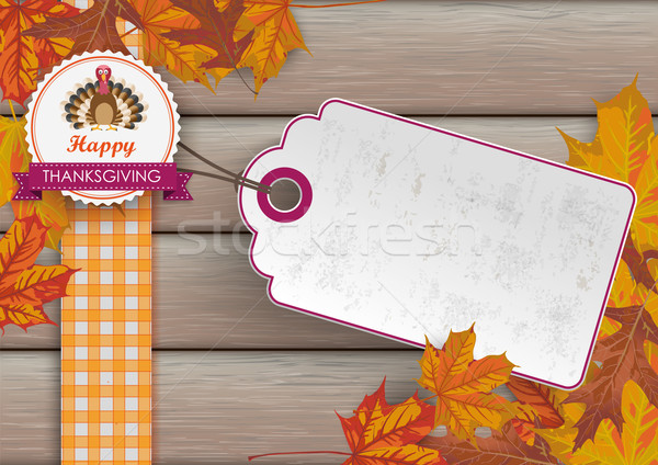 Foliage Thanksgiving Price Sticker Emblem Turkey Wood Stock photo © limbi007