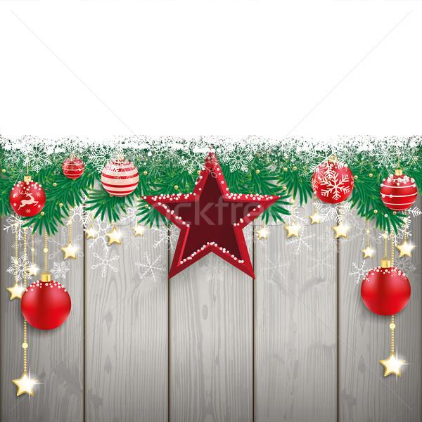 Kar ahşap Yıldız kırmızı ahşap Stok fotoğraf © limbi007