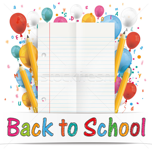 Banner Balloons Letters Folded Lined Paper Back To School Stock photo © limbi007