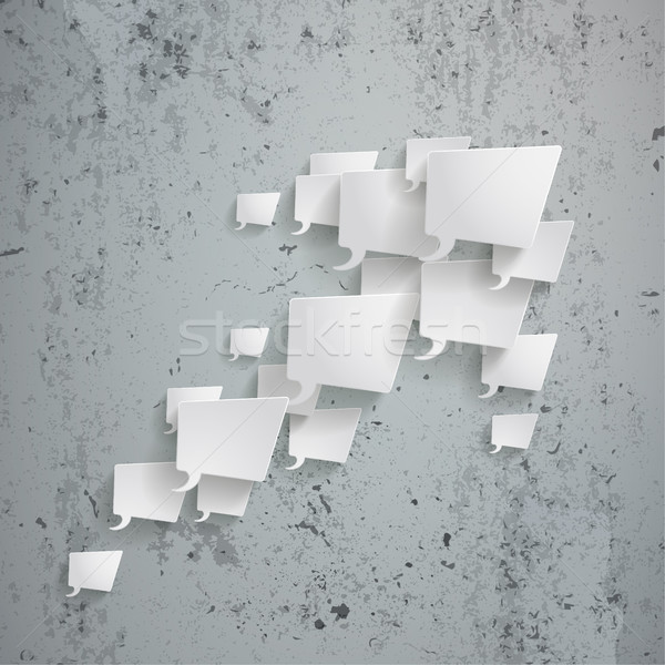 Fehér téglalap szövegbuborékok nyíl beton eps Stock fotó © limbi007