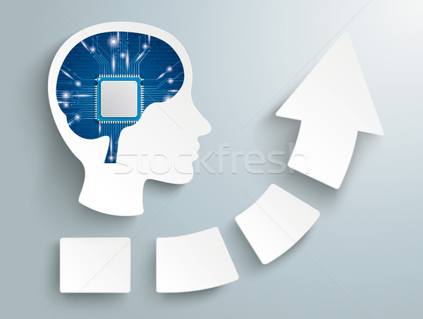 Növekedés nyíl négy darabok fej mikrocsip Stock fotó © limbi007