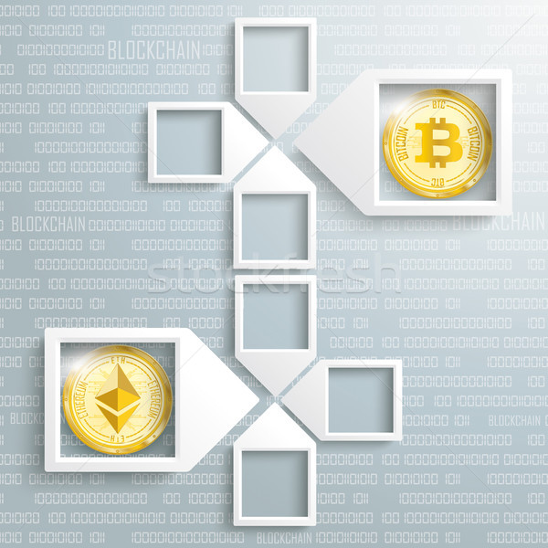 Paper Arrow Frames Data Ethereum Bitcoin Blockchain Stock photo © limbi007