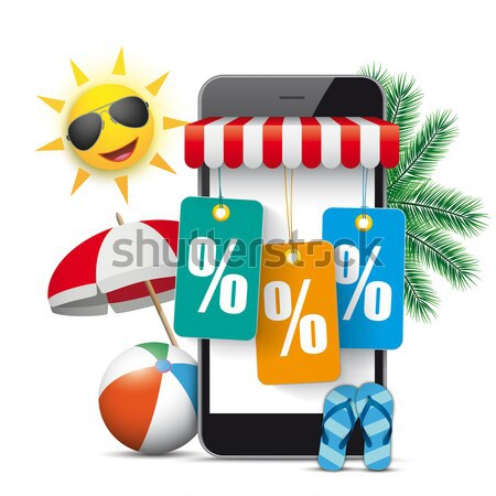 Smartphone Shop Marquee Price Stickers Percent Stock photo © limbi007