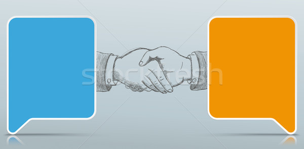 2 Colored Paper Speech Bubbles Handshake Stock photo © limbi007